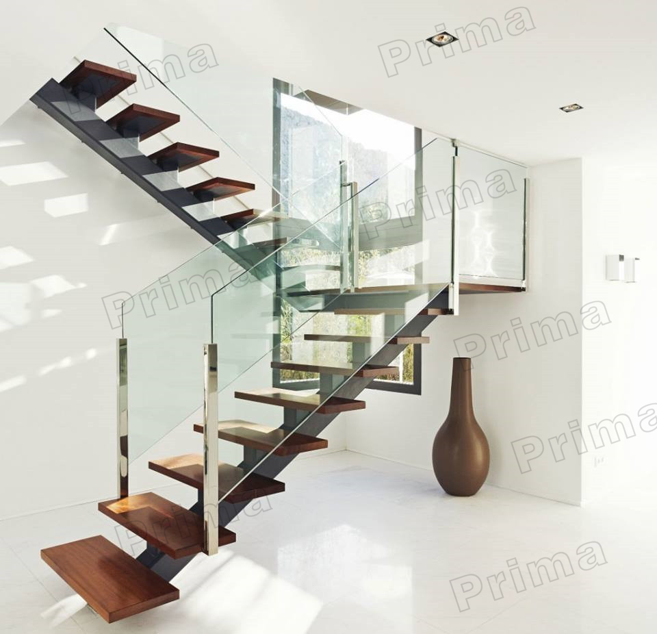 Hot Sale Rubber Wood L Shaped Stairs With Tempered Glass Handrail