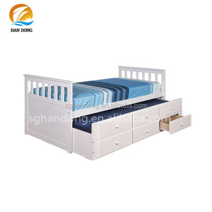Cheap White Wood Single Bed With Trundle Drawer