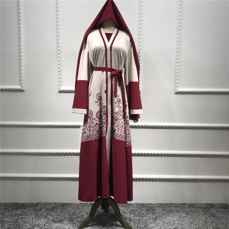 Vestido Largo Musulmán Elegante Abaya Largo Estampado ...