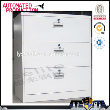Horizontal White Wide KD 3 Drawers Cupboard / Lockable Lateral White Metal Filing  Cabinet 3 Drawer