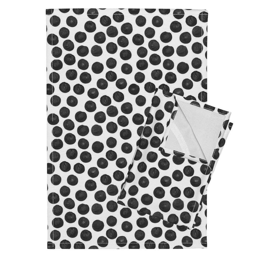 Roostery Black Black And White Monochrome Black Watercolor Dots Black Dots Watercolor Watercolor Dots Tea Towels Black Watercolor Dots by Ivieclothco Set of 2 Linen Cotton Tea Towels
