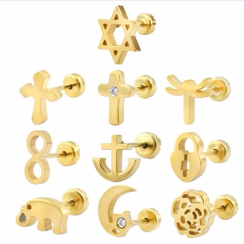 Gold Plated Stud Earrings Baby Girl Style Surgical Steel Kid Ear