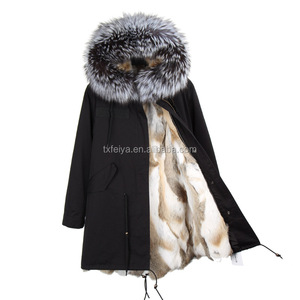 2017 Wholesale Custom Real Rex Rabbit Fur Lined Parka / Women Autumn Winter Coat with real silver fox Fur Hood Real Fur Parka