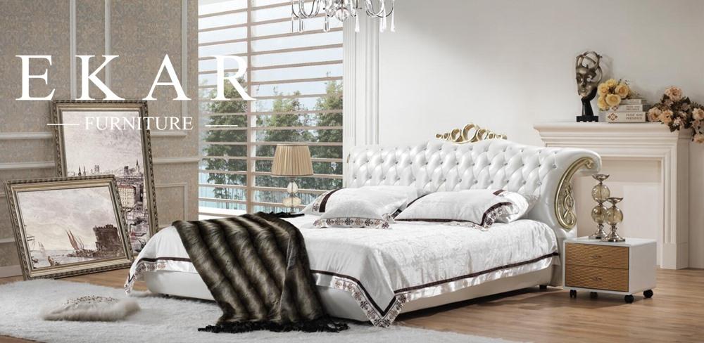 Última cama doble diseños de lujo moderno camas juegos de muebles ...