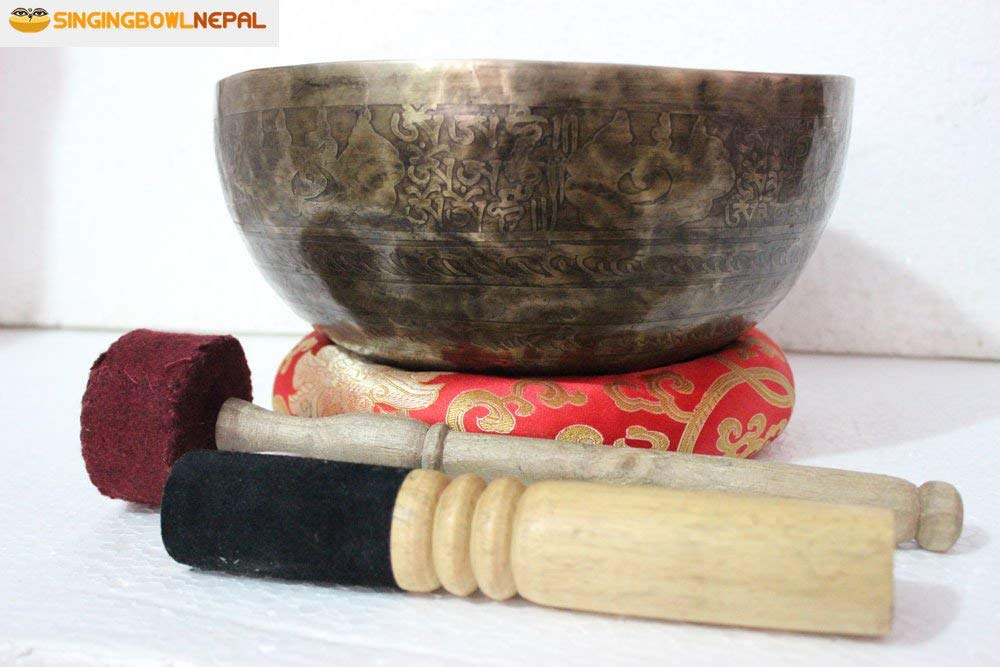 "Singing Bowl 10"" Om Mane Padme Hum Mantra Carved - Beaten Hammered Tibetan Singing Bowls, Hand Carving From Nepal"
