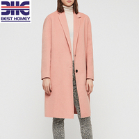 Women's Clay Pink Long Sleeves Notch Lapels Dropped Shoulder Slip Pocket Wool-Blend Coat