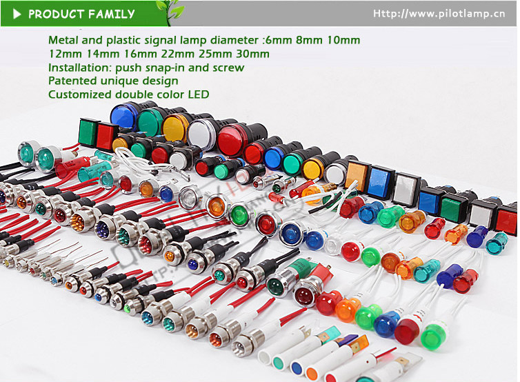 8mm Plastic Led Switch 3v 6v 12v 24v 110vac Caution Ad 16-22ds ...