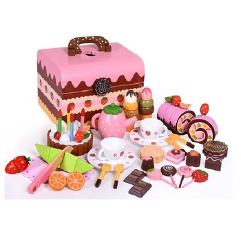 Kids Cake and Tea Deluxe Kitchen Play Set Wooden Pretend Play Toy Dessert Sweet Boutique Role play set educational