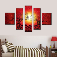 Tree Lovers- Unframed 5 Piece Painting on Canvas Modern House Decorative Posters,Tree Scenery Prints Home Decor