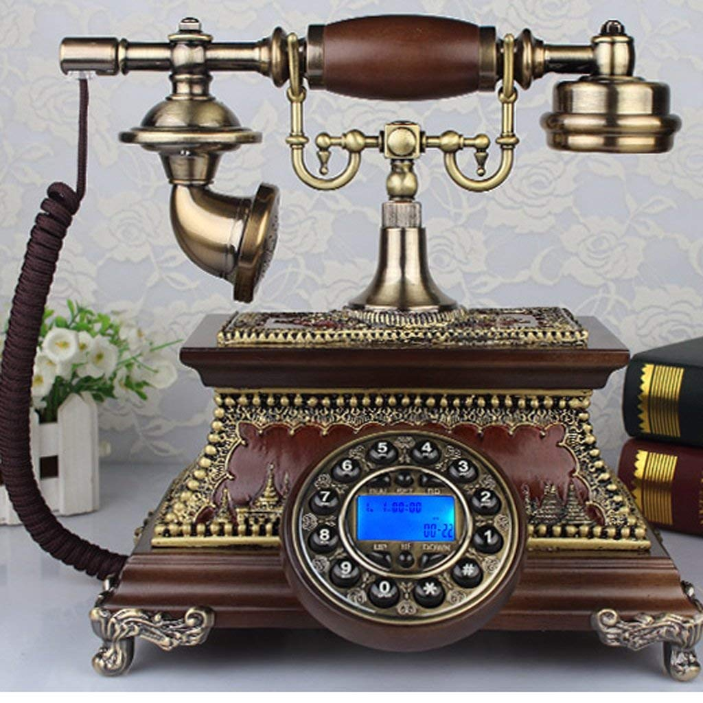 Edge To Corded Telephones European-style Retro Solid Wood European-style Rotating Old-fashioned Living Room Telephone Telephone(27 22 26cm) Home living room phone