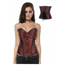 Women's Brocade Steampunk Gothic Punk Steel Boned Corset with Stud Chain