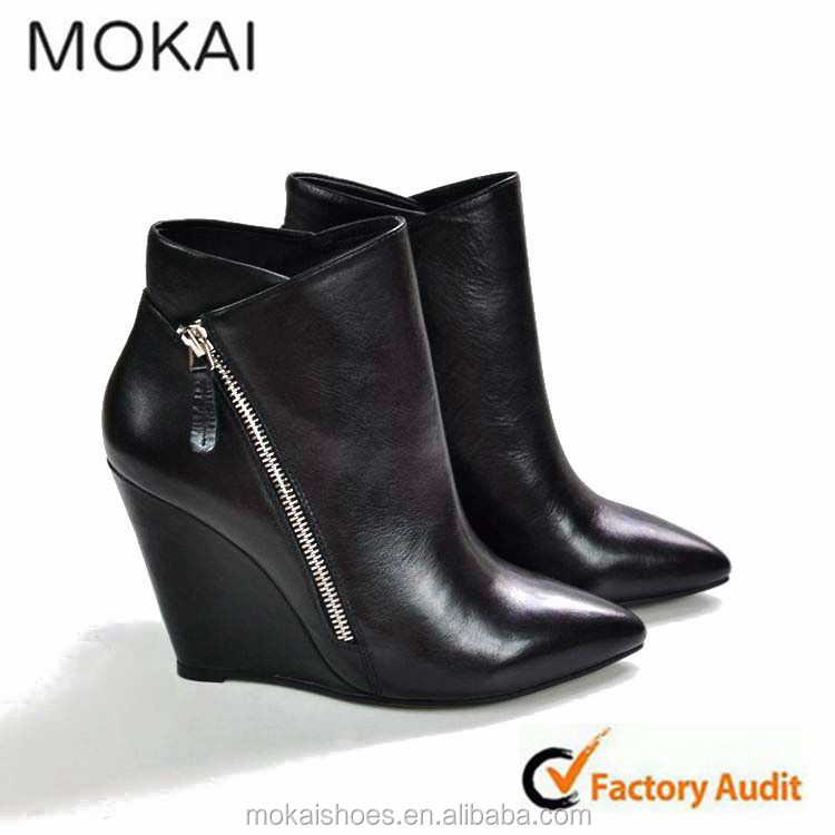 137-2-Black women ladies fashion ankle boots wedge heeled leather black boots 2015