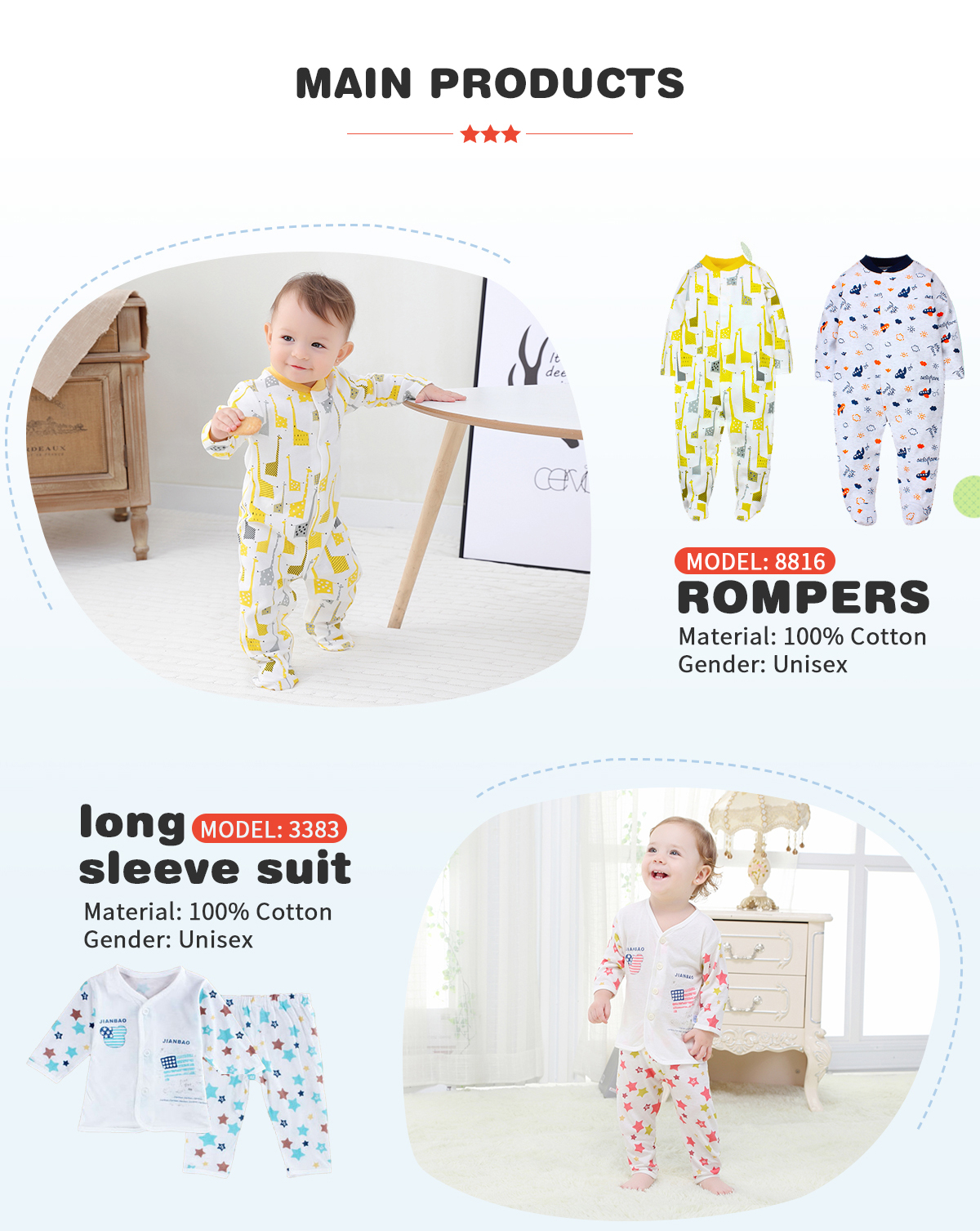 Sabei Baby Girl Boy Clothes Little Girl Bodysuit Romper Jumpsuit Outfits Baby One Piece Long Sleeve