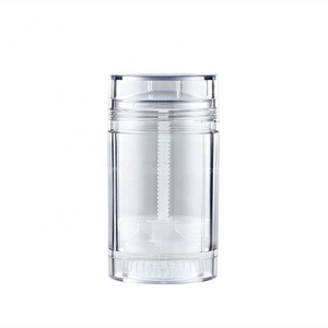 75ml round clear plastic AS deodorant stick bottle, empty transparent tube plastic deodorant packaging container 2.56oz