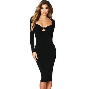 YSMARKET Sexy Flirt Long Sleeve Dress Red Black European And American Spring Autumn Bodycon Midi Dresses For Women Party E610976