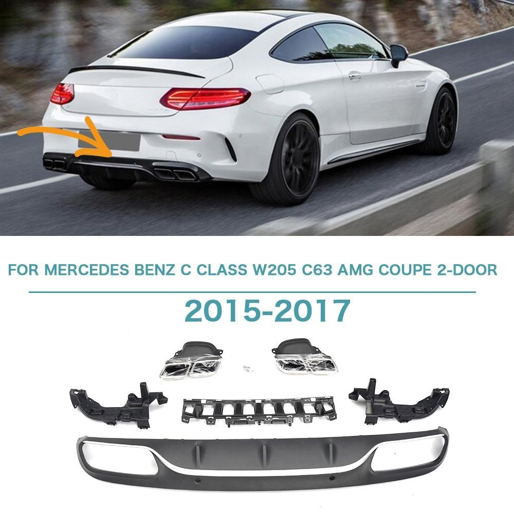 FOR 2012-2014 MERCEDES BENZ W204 C-CLASS /& C63 AMG BUMPER QUAD EXHAUST TIP CARBON FIBER REAR BUMPER DIFFUSER