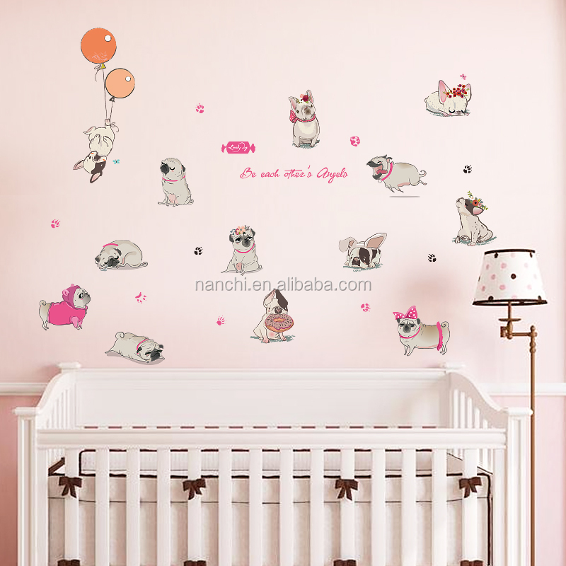 Dogs cartoon kids wall decals cartoon zoo wall decor stickers for children room removable waterproof cartoon design wallpaper