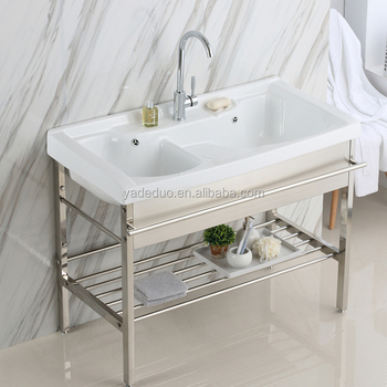 Porcelain Laundry Tub With Double Sinks Ceramic Bathroom Cabinet Deep Basin  With Stainless Steel Stand For