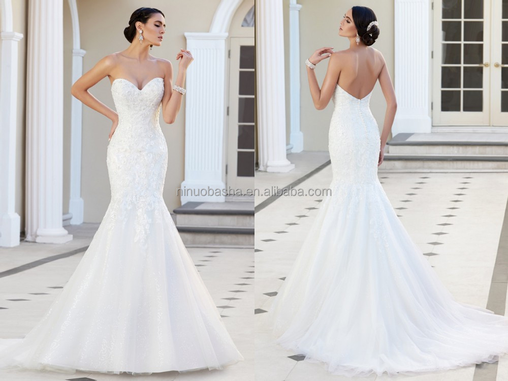 2015 Custom Fit Mermaid Wedding Dress Strapless Sweetheart Neckline Low Cut Back Lace Bodice Tulle Skirt