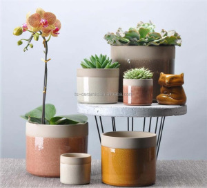 Home and garden modern crackle glazed cheap table ceramic pots plant round planter pot , flower pot