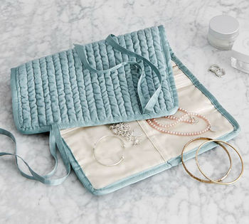 New design Quilted Velvet Silk Jewelry Roll organizer bag