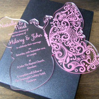 Royal Pink Design Acrylic Invitation Cards For Promotion