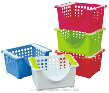 FUCHSIA, TURQUOISE, LIME GREEN, ORANGE PP PLASTIC STACKING BASKET