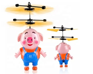 Flying toys aircraft flying cute pig LED Flying Induction Helicopter Infrared Sensor hand obstacle control toy for kit