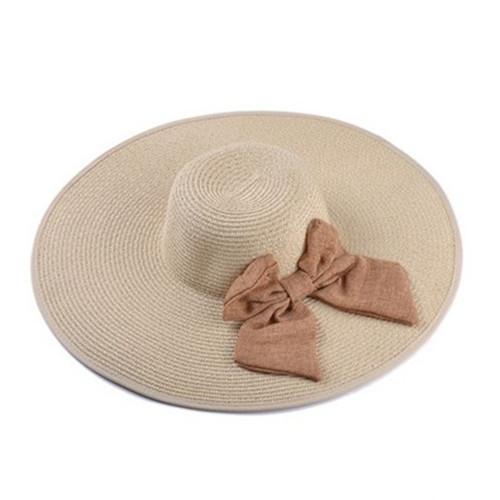 dabca40ea6f Get Quotations · Women Ladies Summer Sun Hat Bowknot Wide Large Brim Beach  Cap Straw Derby Chapeu Feminino