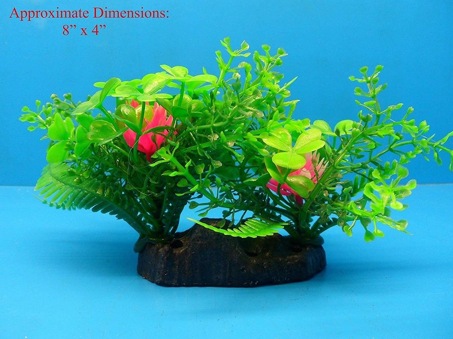 "Azaina_atl AQUARIUM DECORATION - PLASTIC PLANT W HEAVY BASE 45182 4"" H x 8"""