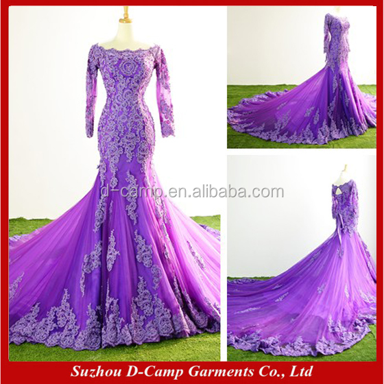 WD331 Vintage design keyhole back vivid purple mermaid lace trumpet long sleeve wedding dress