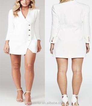 Branco Mangas Compridas Blazer Projeto Vestido Com Colarinho Curvo Buy Blazer Vestidovestido Da Formavestido Mais Recentes Modelos De Vestido