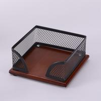CQY 701W Metal Mesh Wooden Desktop Memo Pad Cube Holder