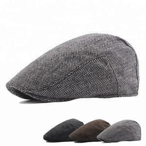80c35f885ad Cut and Sewn Tweed Ivy Caps Winter Beret Hat Cabbie Flat Top Ivy Cap for Men