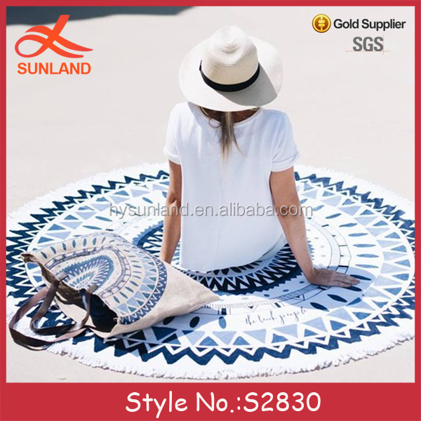 S2830 new style custom printed 100% cotton mandala round beach towels