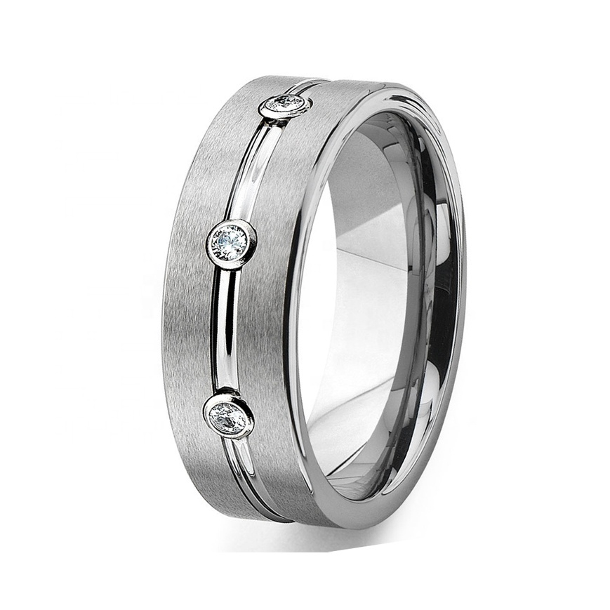 Tungsten Carbide Diamond Ribbed Engagement Wedding Band Ring