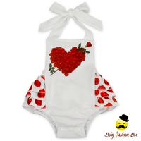 Lovely Toddler Rose Flower Three Layers Ruffle Clothes Soft Baby Girls Summer Romper