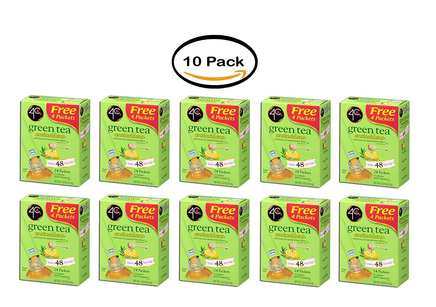 PACK OF 10 - 4C Totally Light Drink Mix, Green Tea, 1.53 Oz, 20 Packets, 1 Count
