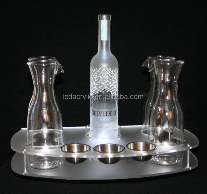 frosted acrylic bottle service tray with bright LED bottle light and bottle support sleeve