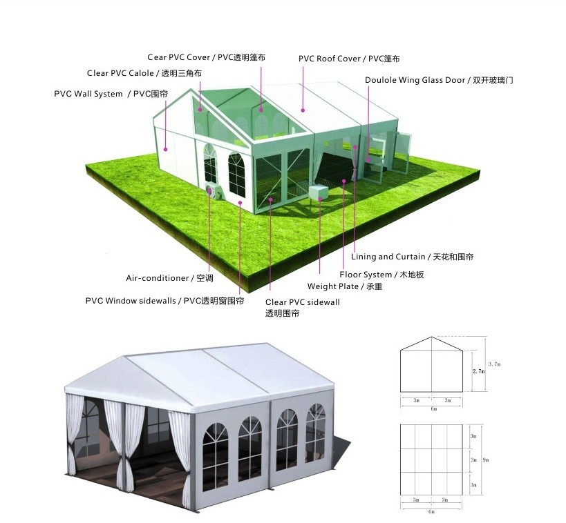 Outdoor Wholesale 40X60 20X30 Customize Clear Roof White Cheap Used Event Wedding Party Tent For Sale