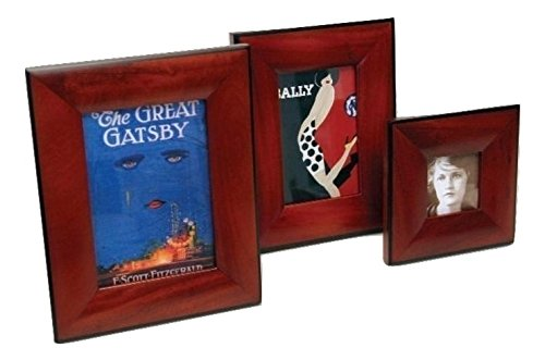 Mahogany Wood Picture Frame Set of 4x6 Inch, 5x7 Inch, and 3x3 Inch Brown Photo Frame Wooden Set - Wall Hanging - Easel Back - Glass Front
