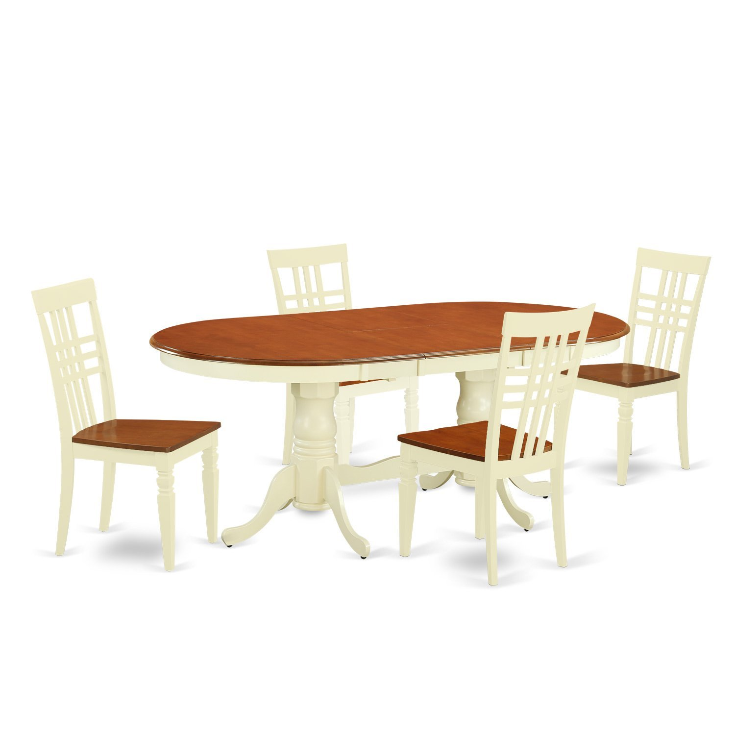 East West Furniture PVLG5-BMK-W 5 PC Dinette Table Set with One Plainville Dining Room Table & Four Kitchen Chairs in Buttermilk & Cherry Finish
