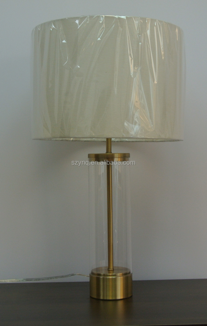 Bedroom Acrylic Column Base Table Lamp With Fabric Shade From China