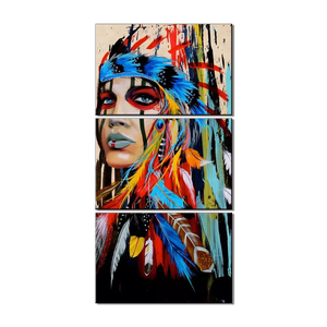 HD Printed 3 piece Canvas Art The Indians Feathered Painting Wall Pictures For Bedroom Paintings Canvas