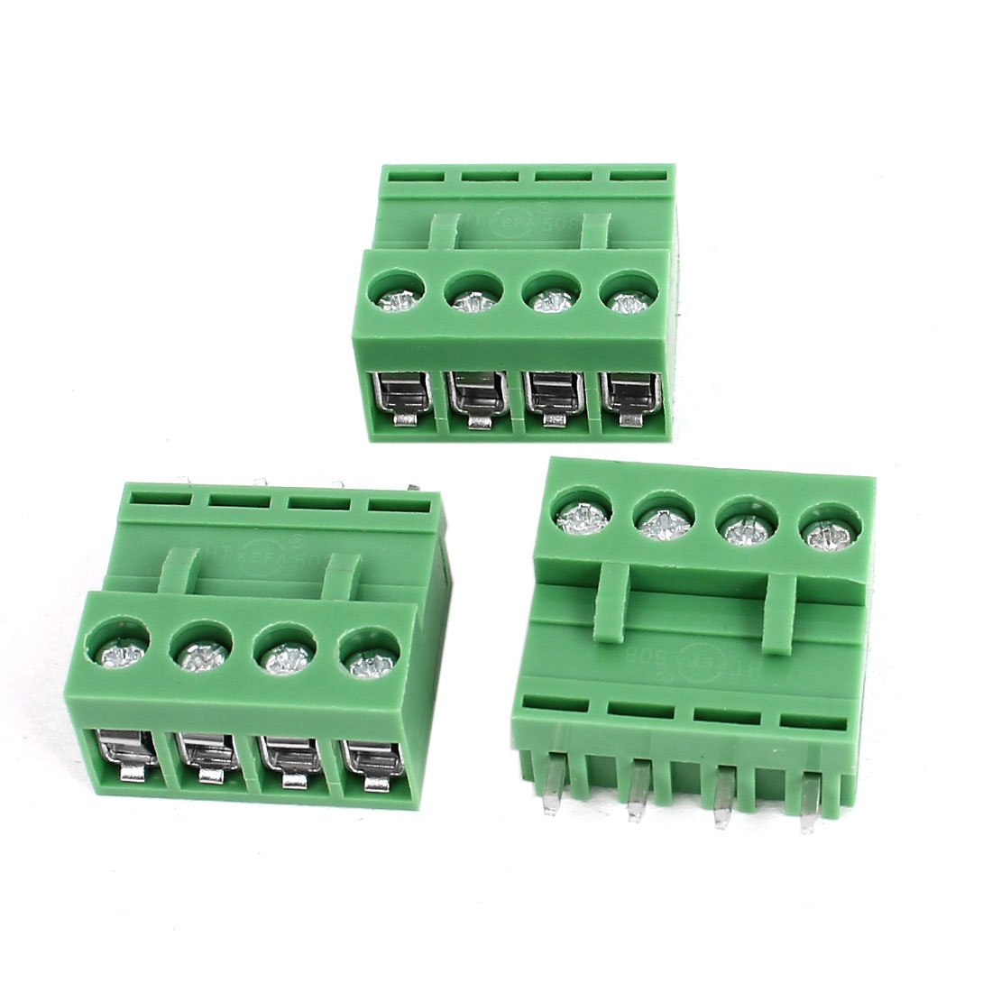 300V 10A 4 Pin 5.08mm Single Row PCB Screw Terminal Block 3pcs Green