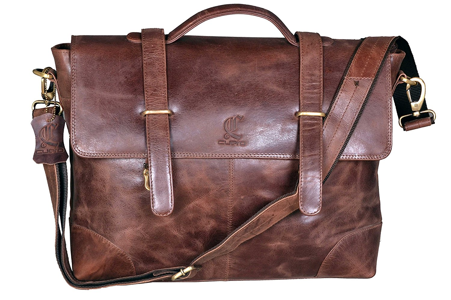 Cuero 16 Inch Vintage Handmade Leather Messenger Bag for Laptop Briefcase Satchel Bag