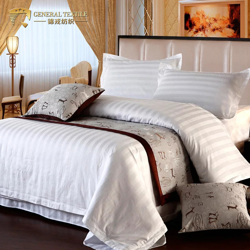 Hotel bed linen Collection comfy 350T Best Cotton Stripe Bedding Set