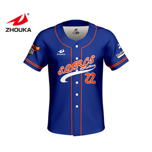 Fast delivery Custom Printing Baseball Plain Shirts Blue Baseball Jersey Outfit Mens Sublimation Cheap Price Baseball jersey