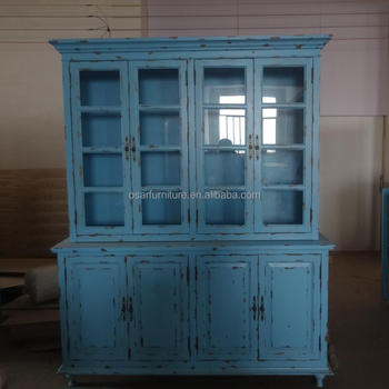 Beau Vintage Turquoise Shabby Chic Wood Glass French Style Display Cabinet