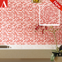 mosaic manufacture factory kitchen Pink mixed crystal glass mosaic tile